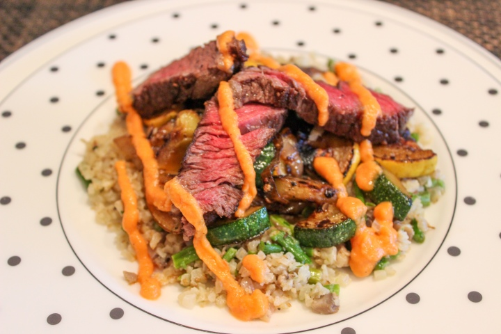Pan Seared Steak with Roasted Red PepperSauce